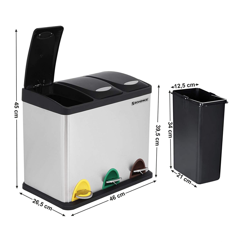 Cubo de reciclaje Songmics